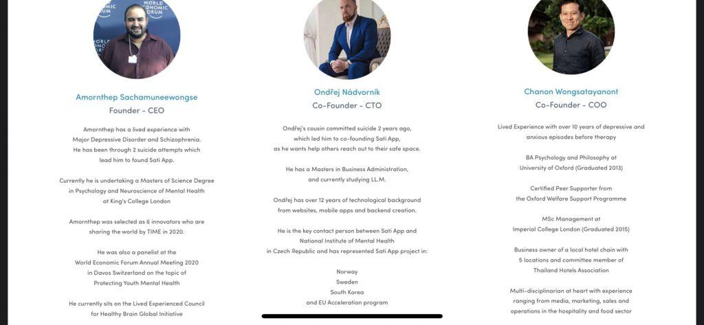 CEO, CTO และ COO ของ Sati App ในปัจจุบัน