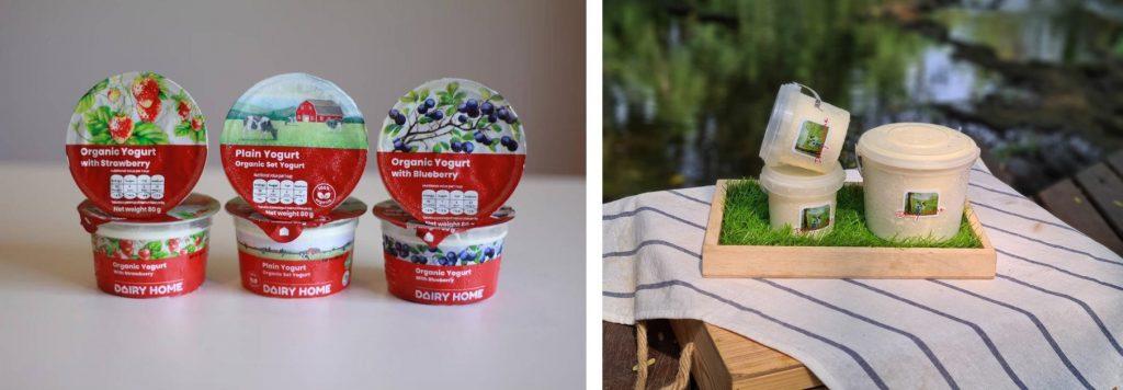 ส่วนหนึ่งของผลิตภัณฑ์จาก Dairy Home - โยเกิร์ตรสชาติต่าง ๆ และ เนยสดออร์แกนิครสเค็ม รสจืด